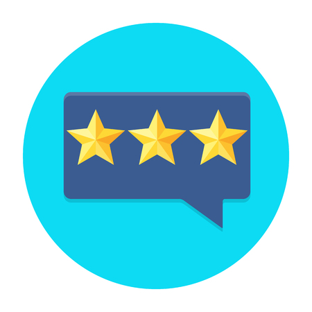 Review rating bubble flat vector illustration, customer reviews stars rate