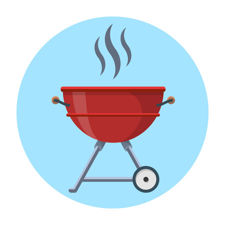 Kettle Trolley Portable Coal Charcoal BBQ Grill flat vector