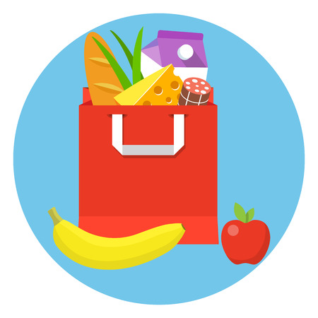 Grocery paper bag with fresh food. Illustration