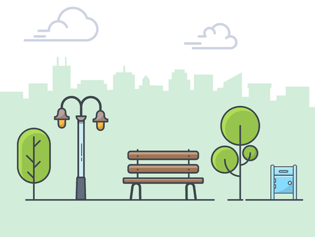 City park , wooden bench, street lamp, mailbox linear illustration