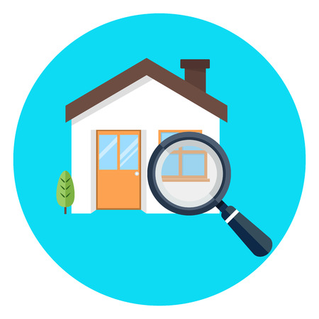 Magnifying glass with house illustration