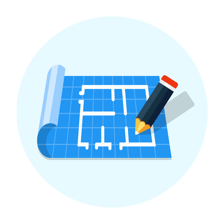 Floor plan with pencil flat icon vector Illustration