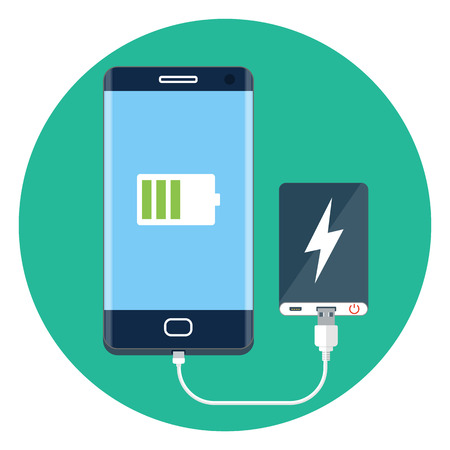 Power bank charging mobile phone Illustration