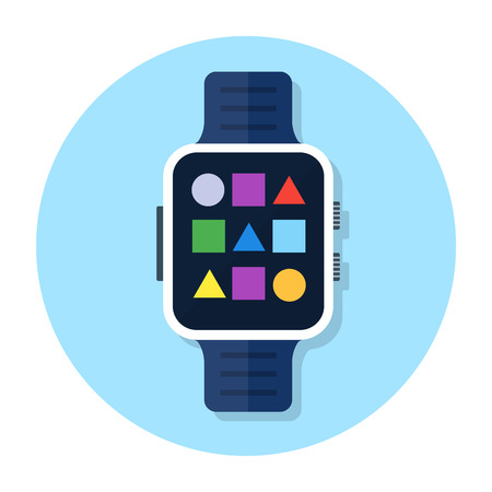 Smart watch device vector icon, smartwatch flat illustration