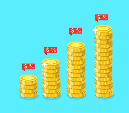 Stack of golden coins with ribbons banners. Vector illustration. Illustration