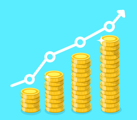 Coin icon. Stack of golden coins with income growth chart. Vector illustration.