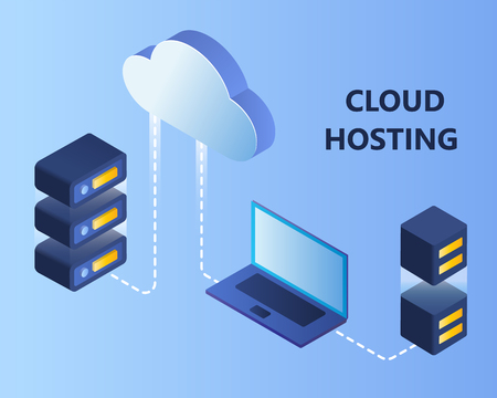 Cloud storage data. Network cloud hosting isometric 3d vector illustration.