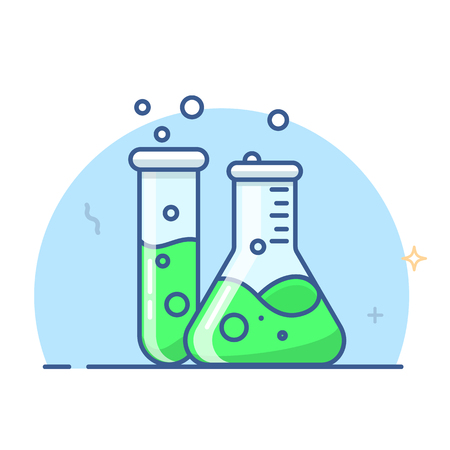 Laboratory glass flasks and test tube, Erlenmeyer flask vector