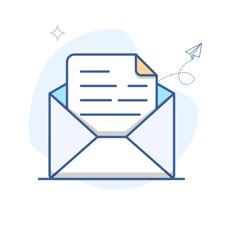 Vector Email Line Icon. E-mail envelope outline vector illustration  イラスト・ベクター素材