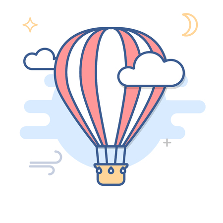 Hot Air Balloon Line Illustration isolated on plain background