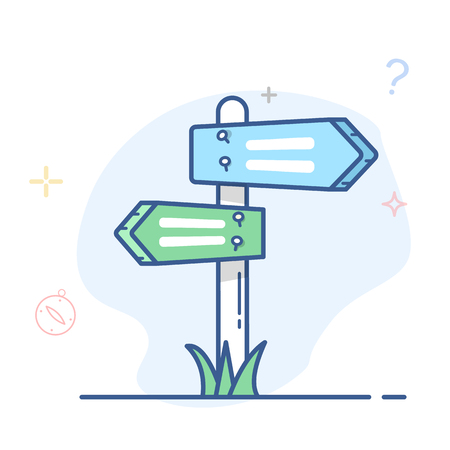 Directional arrow road sign illustration.