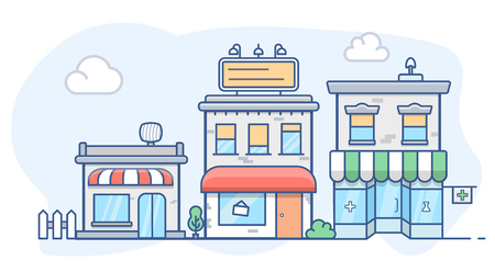 City escape with apartment buildings, shops in colored illustration.