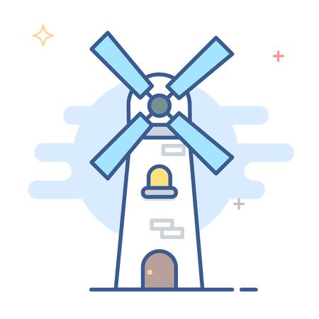 Netherlands Windmill Icon Vector Line Illustration