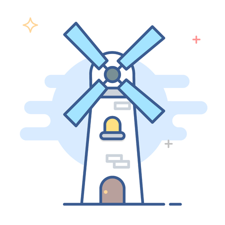 Netherlands Windmill Icon Vector Line Illustration