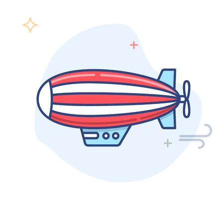 Zeppelin  Blimp Line Illustration