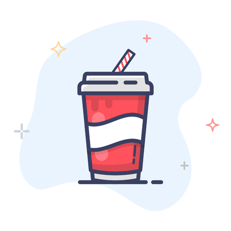 Paper cup icon, a disposable cup with straw for soft drink.