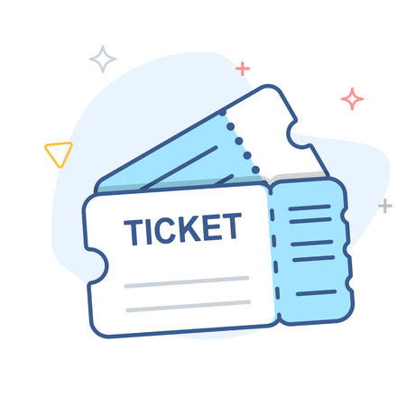 Ticket vector line icon 일러스트