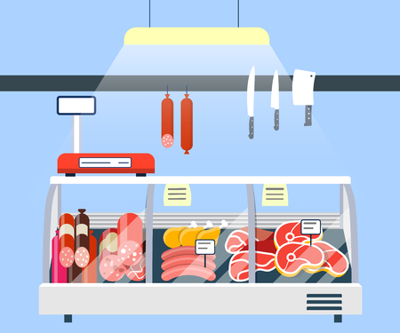 Meat Stand in Supermarket, Meat Display Refrigerator Showcase vector illustration Stock Illustratie