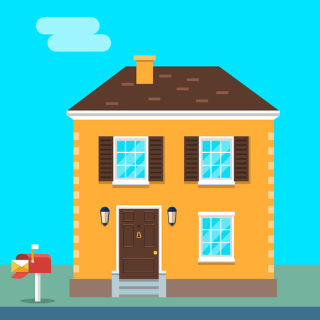 House exterior vector flat illustration front view.