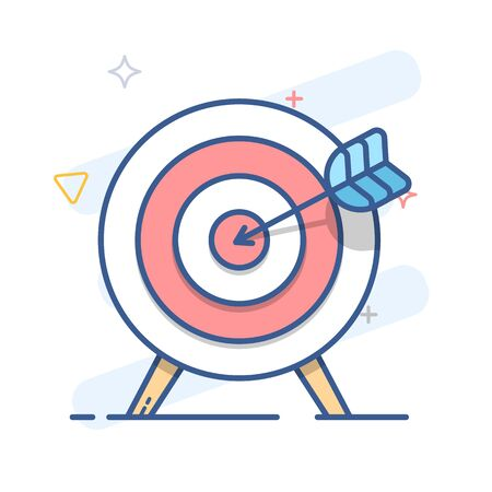 Target and arrow. Goal icon. Color vector line illustration