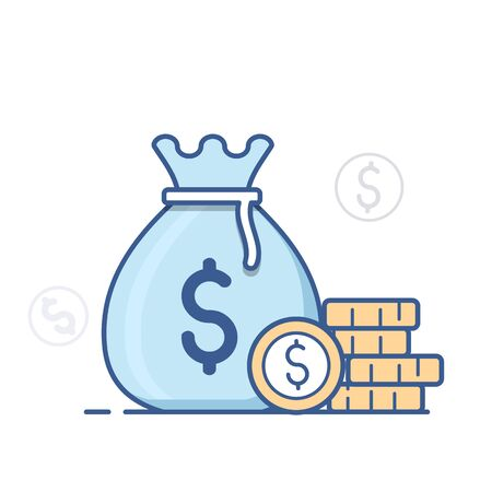 Money bag icon, moneybag  and coins. Vector illustration.
