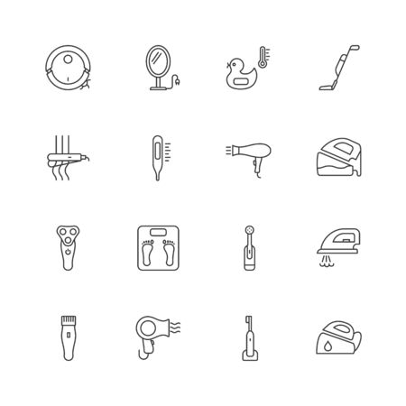 Home appliances line icons.Bathroom electric devices vector icons.Editable stroke.