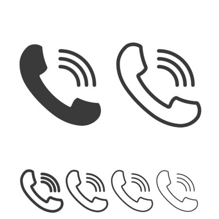 Phone icon in line and solid style. Telephone symbol. Vector illustration.
