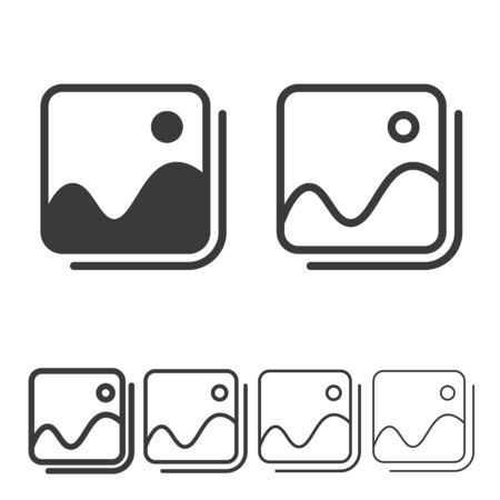 Image gallery icon in line and solid style. Photo symbol. Picture icon line vector.
