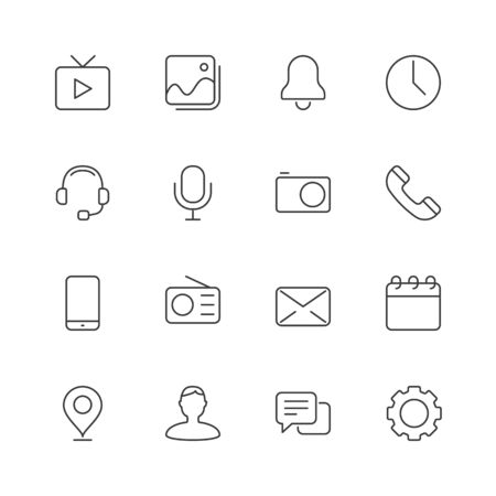 Mobile user interface icons. Editable stroke. Çizim