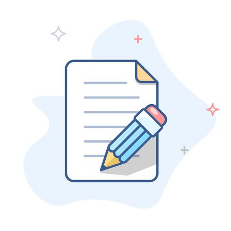 Pencil with paper  line icon.