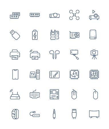 Electronic devices vector thin line icons set. 32x32 Grid. Pixel Perfect.Editable stroke.