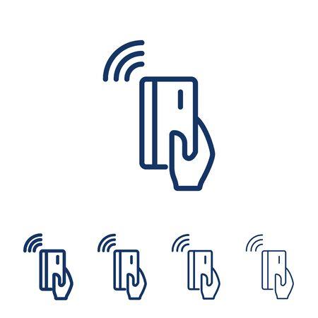 Ikona linii wektor płatności NFC. Ręka trzyma kartę kredytową/debetową. Płatność zbliżeniowa z karty kredytowej.