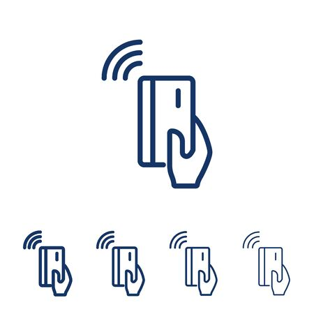 NFC payment vector line icon.Hand holding credit/debit card. Contactless payment from credit card.