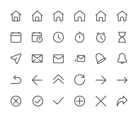 Basic interface small line icons. Home,clock and arrows, pixel perfect icons with editable icons. 16*16 px