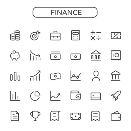 Finance,business vector thin line mini icons set. 16x16 px. Pixel perfect.Editable stroke.