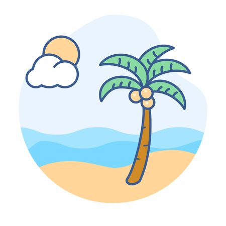Beach line icon.View of tropical ocean and a palm tree vector illustration. Çizim