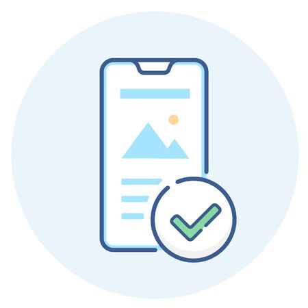 Mobile friendly line icon. Smartphone with checkmark outline illustration.
