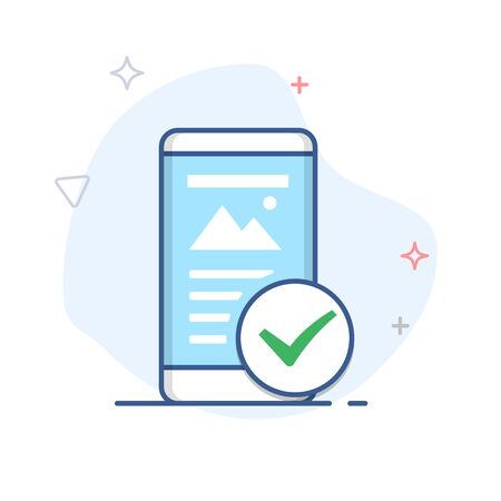 Mobile friendly line icon. Smartphone with check mark outline illustration. Çizim