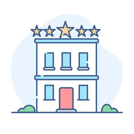 Hotel line icon. Hotel building outline illustration. Çizim
