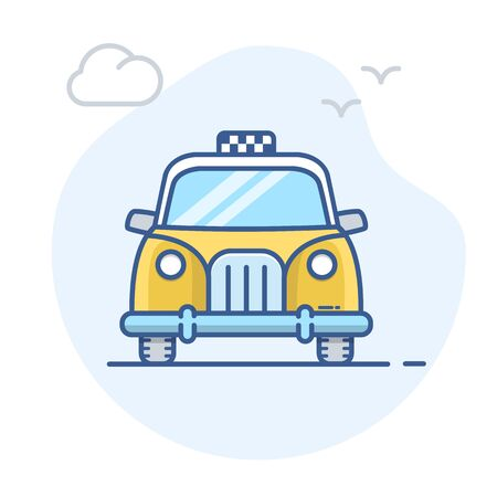 Taxi line vector icon, cab outline illustration.