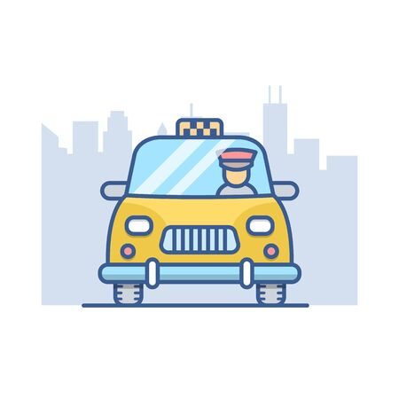 Cab line vector icon, taxi outline illustration.