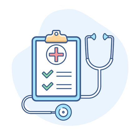 Medical insurance with stethoscope line icon. Insurance policy outline illustration.