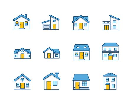 House Vector  Home flat icon  Building houses - Vector outline icon set