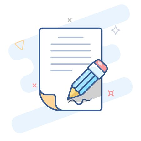 Paper document with signature and pen outline icon.Signing document line vector illustration.