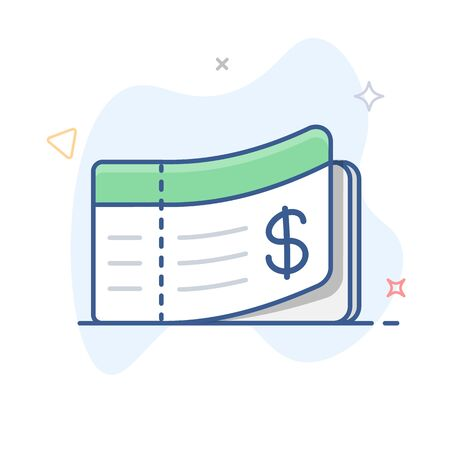 Cheque linear vector icon. Checkbook outline illustration.