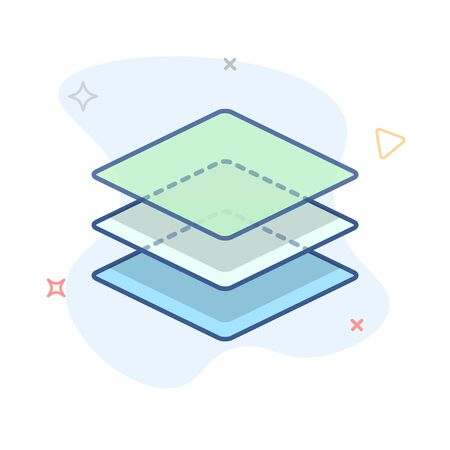 Stack of layers icon. Stack of squares outline illustration.