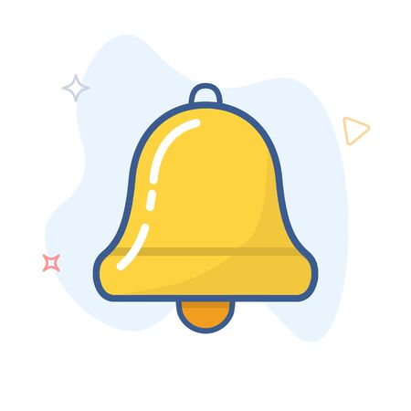 Bell vector line icon. Alarm, handbell  outline illustration.