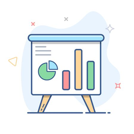 White board with graphs vector icon.