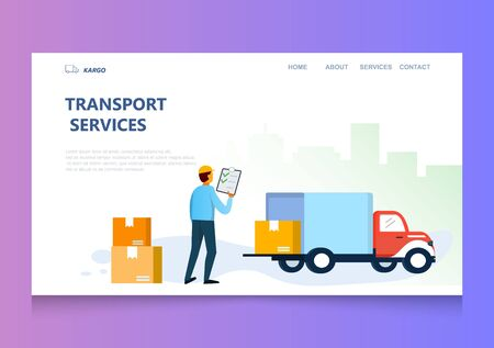 Web page design template of transport service. Courier and delivery truck flat design vector illustration  for website and mobile website.