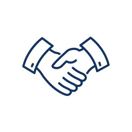 Vector handshake line icon.